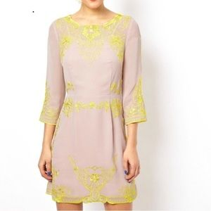 ASOS Us Size 6 Neon yellow and blush nude dress